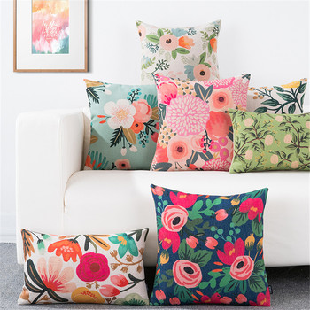 Throw pillow cushion cover flower plant office lumbar pillow sofa cushion pillow case cover for living room decoration 2019 newest plaid pillow case 45 45cm cotton and linen pillow cover elastic cushion cover for living room bedroom office decor