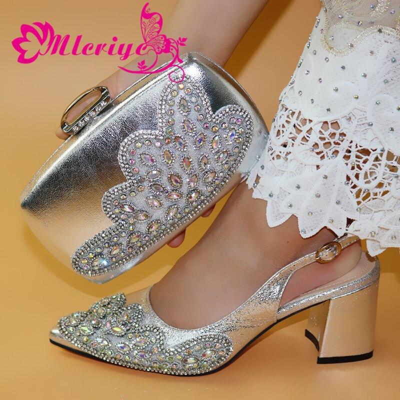 Mary janes dernières chaussures de mariage et sac pour correspondre aux femmes parti italien Design chaussure et sac chaussures africaines sac ensemble argent
