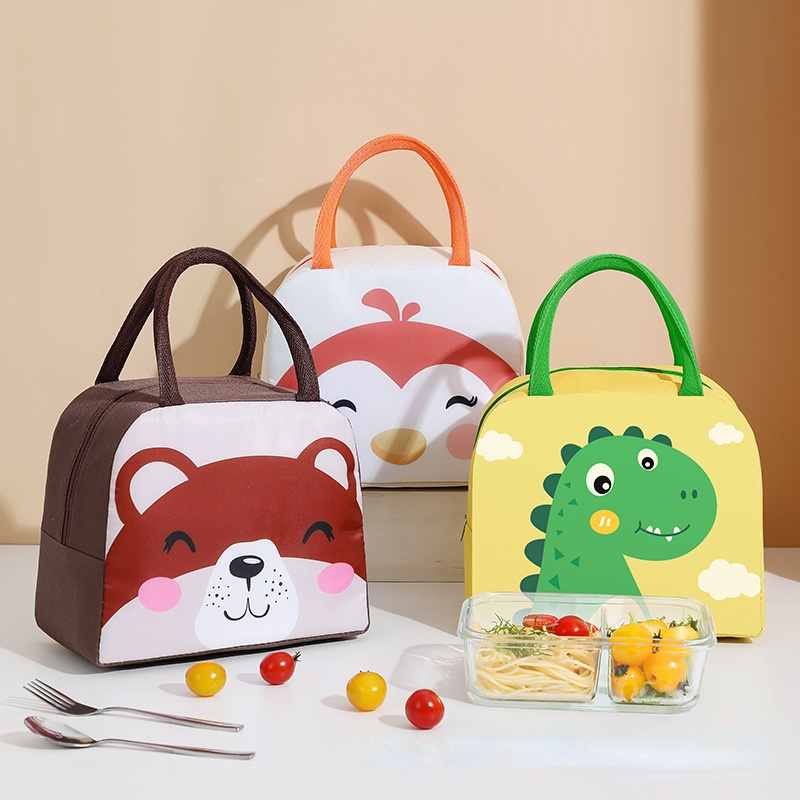 Cartoon animal Canvas Lunch Bags Portable Insulated Thermal Cooler Bento Lunch Box Tote Picnic Storage Bag Pouch