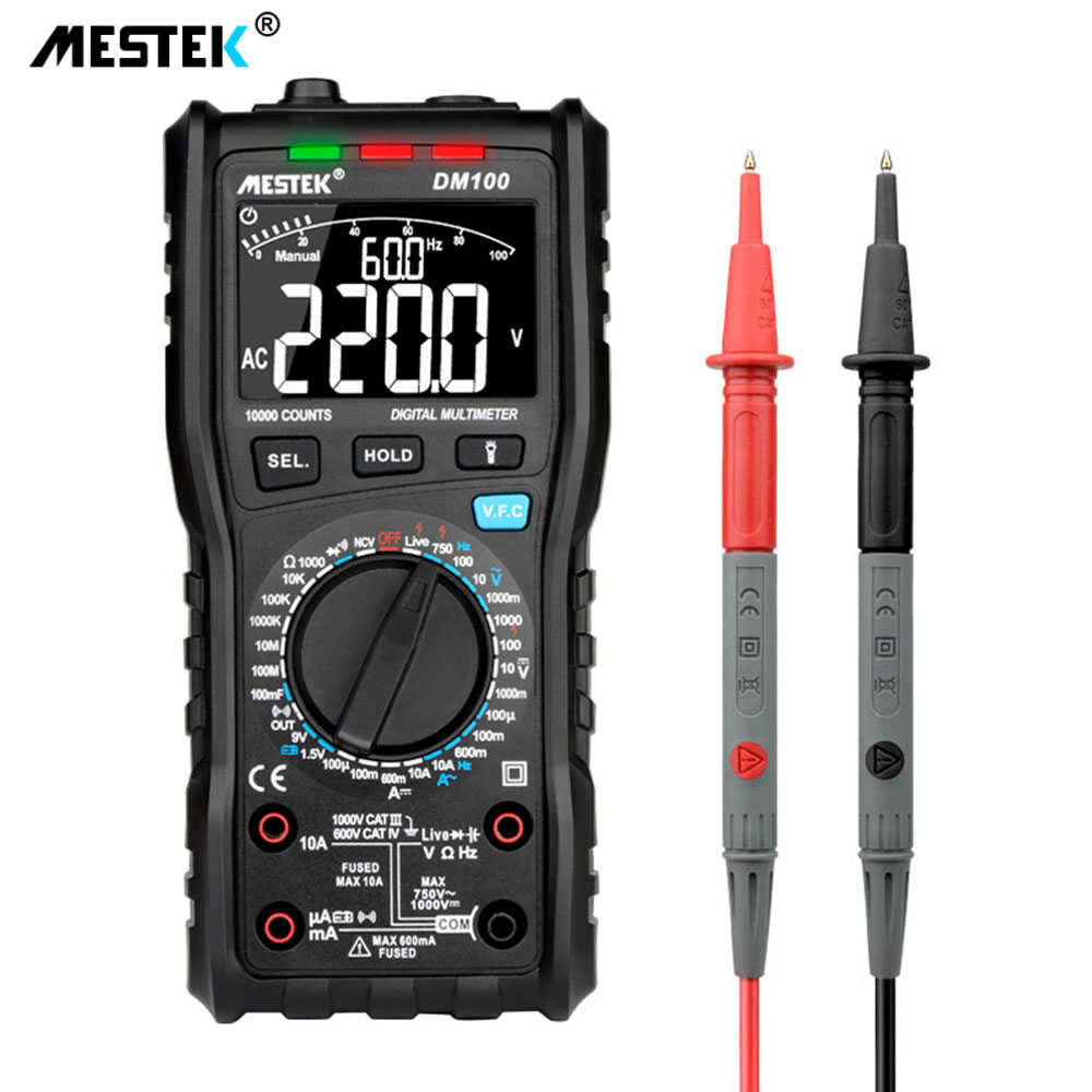 Mestek DM100 Digital Multimeter Kecepatan Tinggi Smart Double Core T-RMS Ncv Suhu Amp Multimetro Anti Bakar Fuse Alarm multimeters