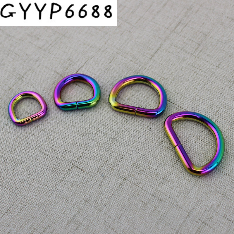 15mm 38mm Rainbow Opened D Ring Belt Buckle,zinc Alloy Hardware Metal D Ring For Bags Round Edge D Ring,alloy Metal Fat