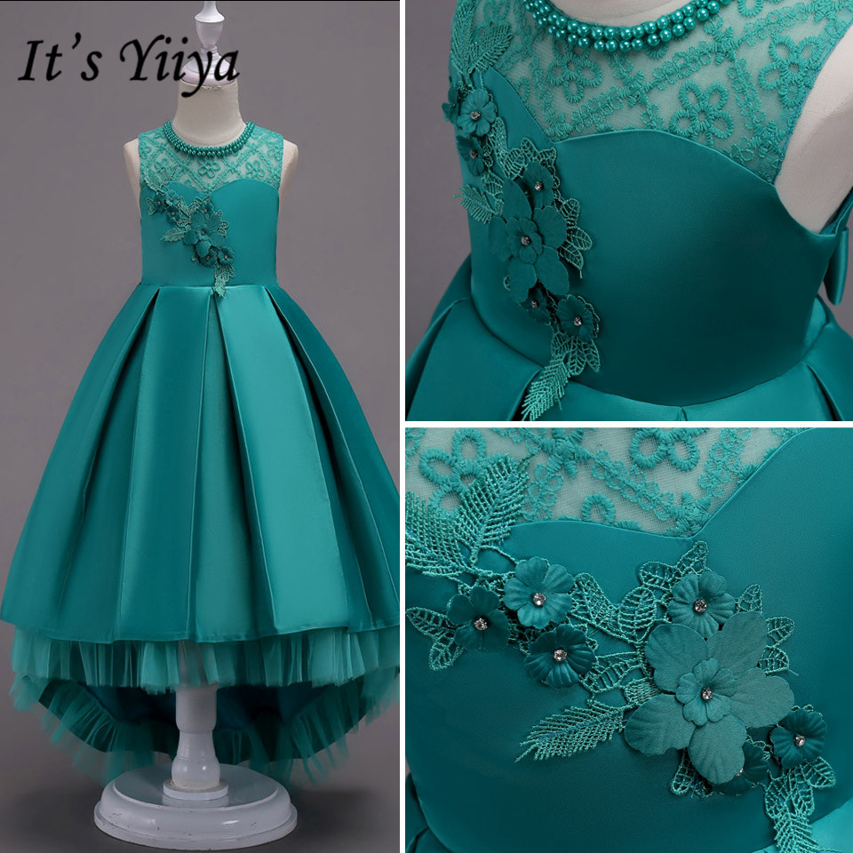 It's Yiiya Flower Girl Dress For Wedding Embroidery Pearls O-neck Lace Ball Gown Long Kids Party Communion Dresses Princess 580