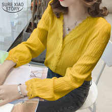 Lace Shirts Women's Blouse Plus-Size Puff-Sleeve V-Neck Autumn Striped 11087 Single-Breasted