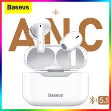 Baseus s1 anc active noise cancelling bluetooth 5.1 fone de ouvido tws verdadeiro sem fio fone de ouvido hi-fi áudio gaming controle toque
