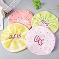 Многоразовые эластичные шапки для душа, милая Водонепроницаемая шапка для ванны с фруктовым дизайном, салонная шапка для волос для девочек,...