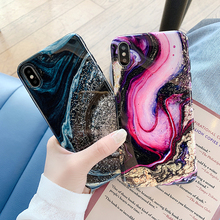 Art Granite Smooth Marble Phone Case For iphone XS Max XR X 6 6S 7 8 Plus Colorful Shining Starry Sky Glossy Soft IMD Cover
