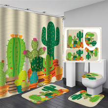 Green Potted Plants Shower Curtain For Bathroom Waterproof Print Cactus Succulents Bath Curtain With Hooks high quality 50 pcs monkey tail cactus bonsai succulents rare varieties beautiful balcony potted plants