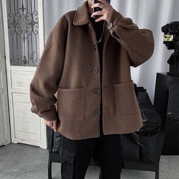 Corduroy Jacket Men's Fashion Solid Color Retro Casual Pocket Tooling Jacket Men Streetwear Loose Hip Hop Bomber Jacket Men girls solid jacket