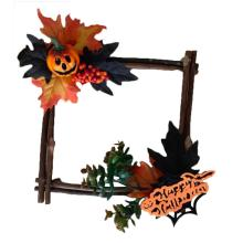 Simulation Halloween Wall Hanging Decoration Wooden Square Maple Leaf Pumpkin Pendant