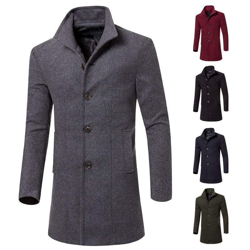 Foreign Trade Direct Supply 2019 Autumn And Winter New Style Korean-style Mid-length Overcoat Men Wool Trench Coat MEN'S Outerwe