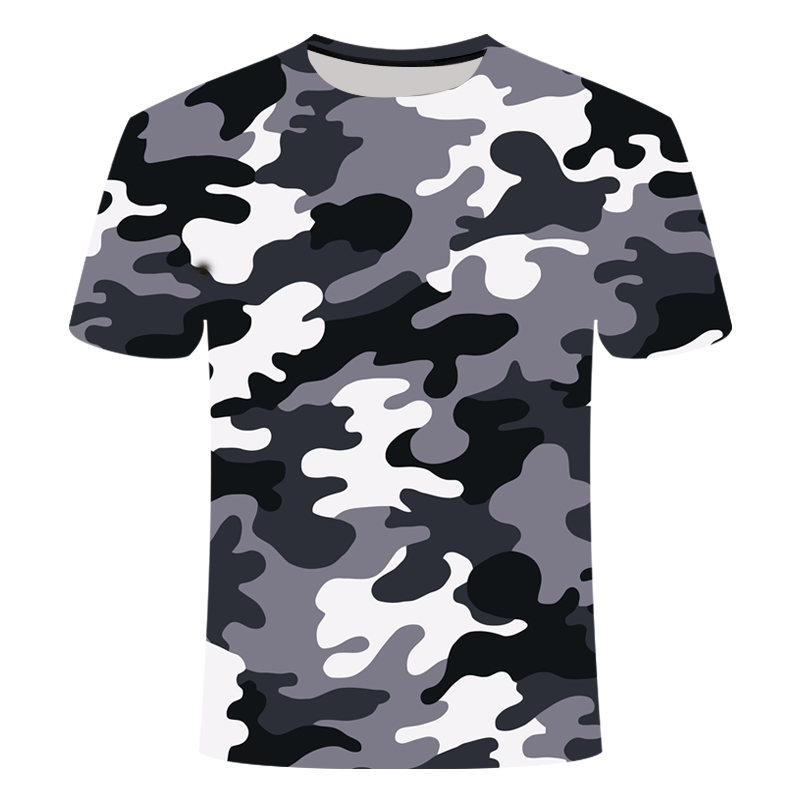 Fashion T Shirt Men 2020 Summer New Tide Brand Black And White Camouflage 3D Printing T-shirt Short-sleeved Men's Clothing S-6XL