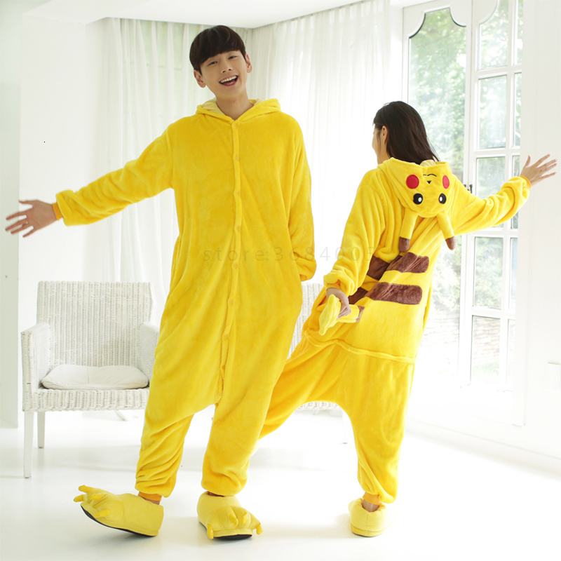 Kigurumi Pikachu Pajama For Adult Kdis Animal Onesie Women Men Winter Slipper Kegurumi Sleepwear Flannel Pijamas Children Shoes
