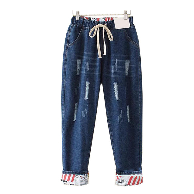 Plus Size Elastic Waist Hemming Boyfriend Loose Ripped Denim Harem Jeans 4Xl 5Xl Light Blue  Girl'S Casual Pants For Women 4