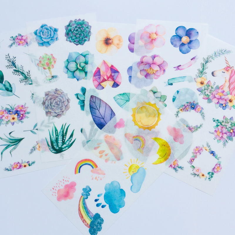 6 Sheets /Pack Unicorn & Plants Washi Paper Decorative Stickers