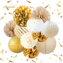 NICROLANDEE 12PCS Glitter Gold White Party Decorations Tissue Pom Poms Paper Lantern for Rustic Vintage Wedding Baby Shower 5pcs 20cm multiple colors tissue paper pom poms flower balls party wedding home birthday supplies home decorations