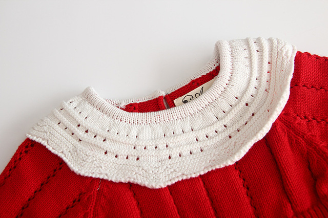 Baby Girls Knitting Romper 2019 Autumn Red Girl Clothes Newborn Baby Girl Clothes Fashion Knitted Romper Overalls Autumn Sweater 3