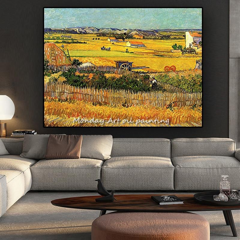 Лидер продаж знаменитый аритсит ручная роспись Ван Гог урожай пейзаж живопись на холсте настенная живопись украшение для офиса искусство