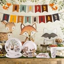 Decoraciones para fiesta de cumpleaños de animales del bosque para niños, suministros de fiesta de jungla de Safari, bosque, niña, niño, ducha de bebé, Decoración de cumpleaños Woodland