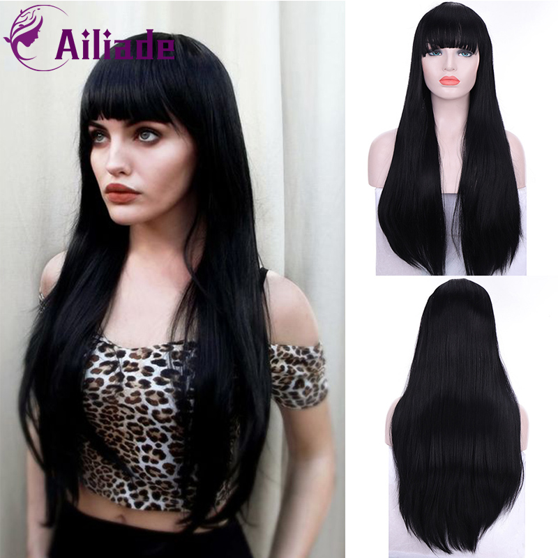 AILIADE Long Straight Black Synthetic Wigs With Bangs For Women Cosplay Hair Wig Heat Resistant Hairpiece Daily And Party