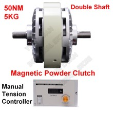 5 кг 50Nm DC24V двойной вал двойная ось магнитного порошка сцепления и 3A ручного натяжения наборы контроллеров для мешков печатная машина