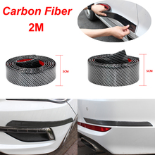 2M Carbon Fiber Car Stickers Film Rubber Moulding Trim Strip DIY Door Edge Guard Protector For Car Styling Accessories 1m car door edge protection carbon fiber rubber moulding strip soft black trim bumper strip diy guard car stickers car styling