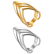 BONISKISS Fashion Ring Golden Silver Color Stainless Steel Jewelry Stylish Three V Shape Design Ring Jewelry Joyas de Plata dazz special design lily flower shape wide bangle ring sets three tones color copper jewelry set full rhinestones wedding bijoux