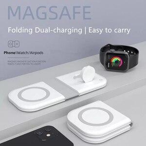 Image 1 - Manyetik MgaSafing kablosuz Duo şarj iPhone 12 /Pro/Pro Max/Mini 15W manyetik MagSave hızlı kablosu ile kablosuz şarj