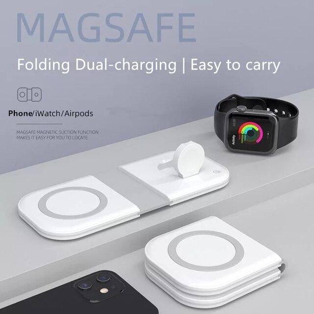 Manyetik MgaSafing kablosuz Duo şarj iPhone 12 /Pro/Pro Max/Mini 15W manyetik MagSave hızlı kablosu ile kablosuz şarj