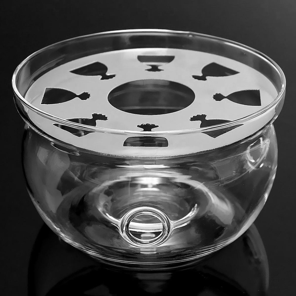 Heat-Resisting Teapot Warmer Base Clear Borosilicate Glass Round Shape Insulation Tealight Portable Teapot Holder