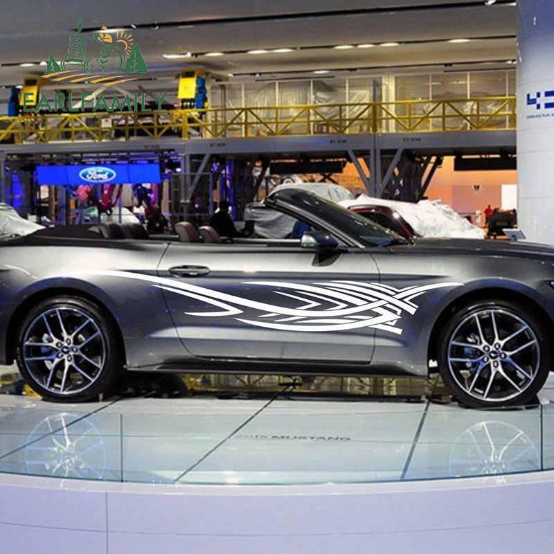 EARLFAMILY 200 سنتيمتر x 26.4 سنتيمتر 2x سيارة سباق الصليب المشارب ل موستانج الباب المحرك الجانب الفينيل سيارة ملصقات الرسومات ملصق لاصق لامع ورائع