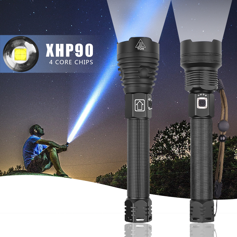 Brightest XHP90 Zoom Flashlight Led Torch Waterproof Use 26600 Battery USB Charging Best For Camping Outdoors