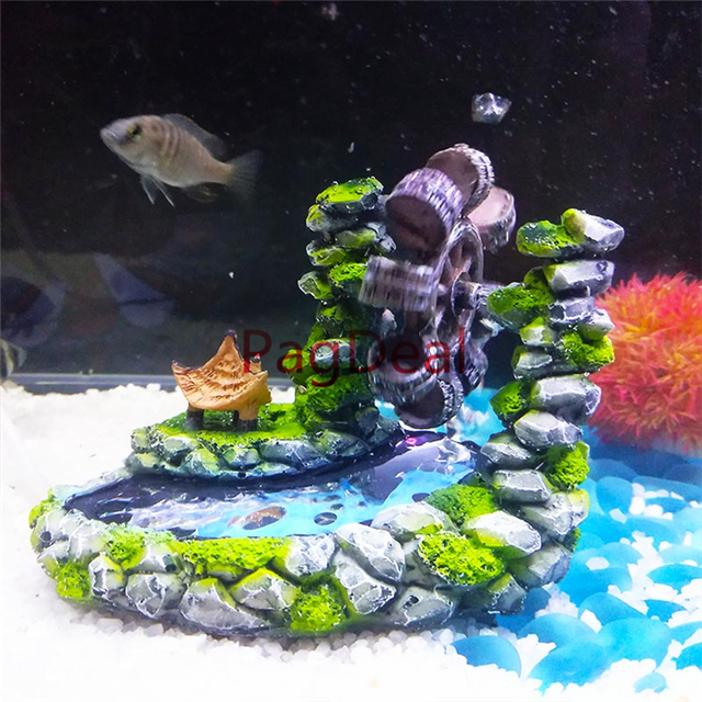 Resina Acquario Decorazioni di Stile Dellannata Paesaggio Mulino Ad Acqua Bolle Pietra Fish Tank Acquari Creativo Ornamento Mulino A Vento