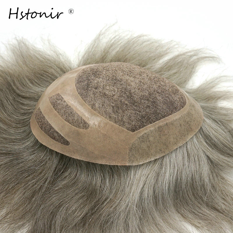 Hstonir Grey Mono Lace Human Indian Remy Hair Toupee For Men Hair Color H033