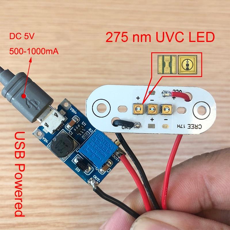275nm UVC LED โมดูลสำหรับ DIY UVC ฆ่าเชื้อโรคโคมไฟ USB Power Supply BOARD ลึก UVC LED สีม่วงฆ่าเชื้อ 285nm