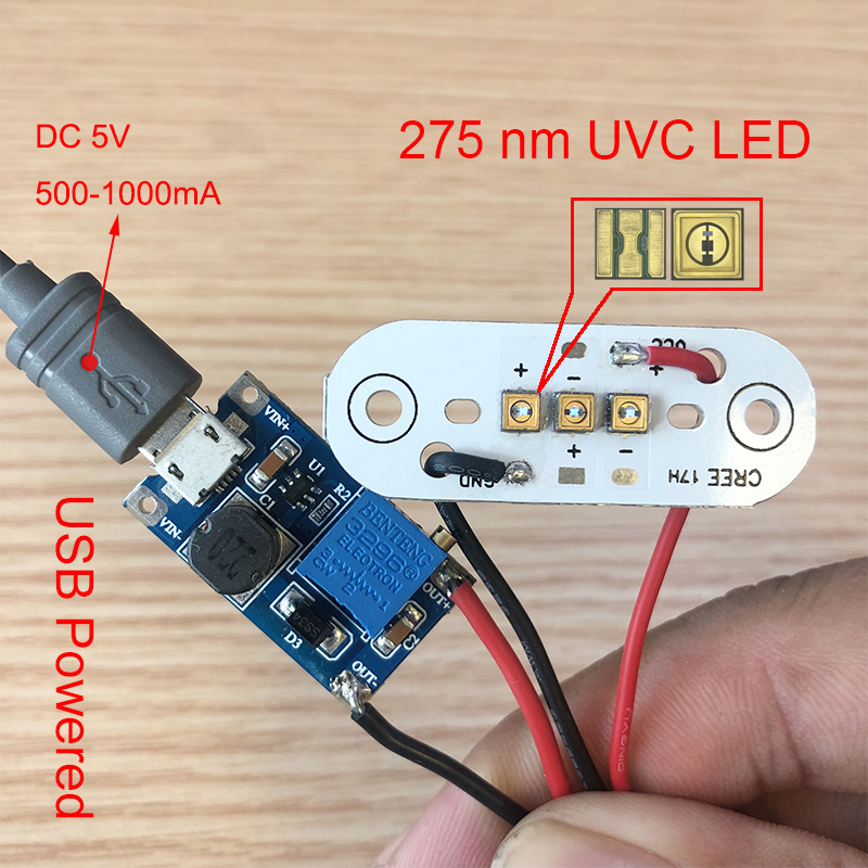 275nm UVC LED modul für DIY UVC Desinfektion lampen Mit USB power supply board Tiefe UVC LED violet licht sterilisation 285nm