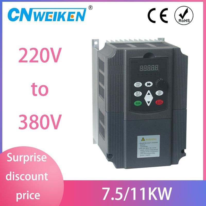 220V single phase input 11kw 3 phase 380V output for 10HP 7.5kw 3 phase motor frequency converter inverter
