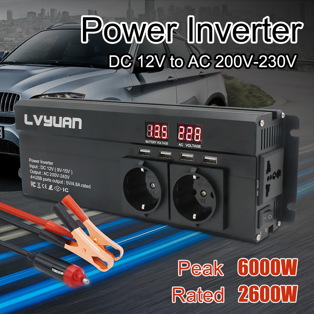 Car Inverter 6000W Peak DC 12V 24V To AC 220V  LED Display  amp  EU Plug Power Inverter Volts Converter Charger Inversor Transformer