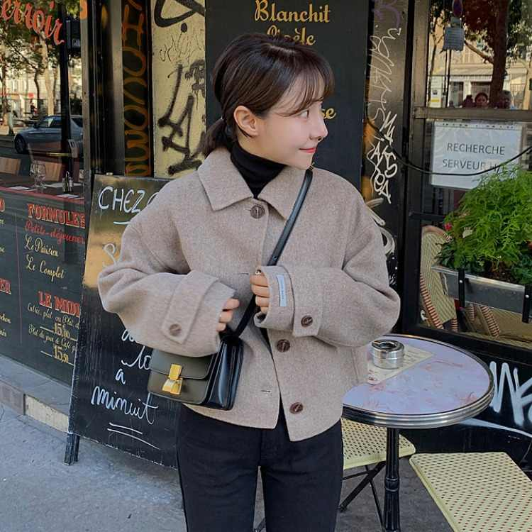 2019 Autumn And Winter Simple Fold-down Collar Single Breasted Short Woolen Jacket