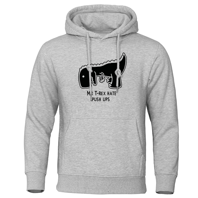 2019 Autumn Winter Warm Men Hoodies Tea Rex Funny Print Hoodie Sweatshirts Casual Mens Tracksuit Mr Trex Hate Push Ups Pullover