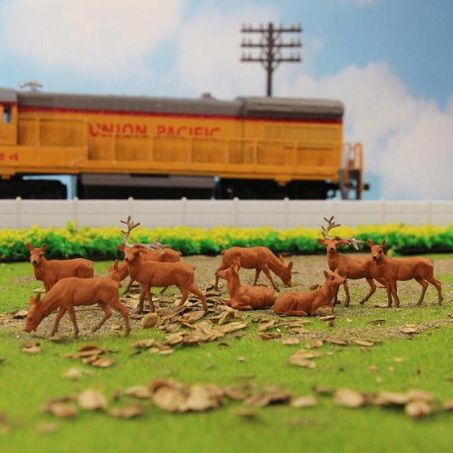 12pcs/24pcs Model Railway HO Scale 1:87 Painted Wild Animal Moose Elk PVC Model Deer AN8714 5