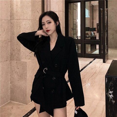 2019 fall women lace up blazers and jackets blazer women  Long Sleeve office lady casual belt Suit Islamabad