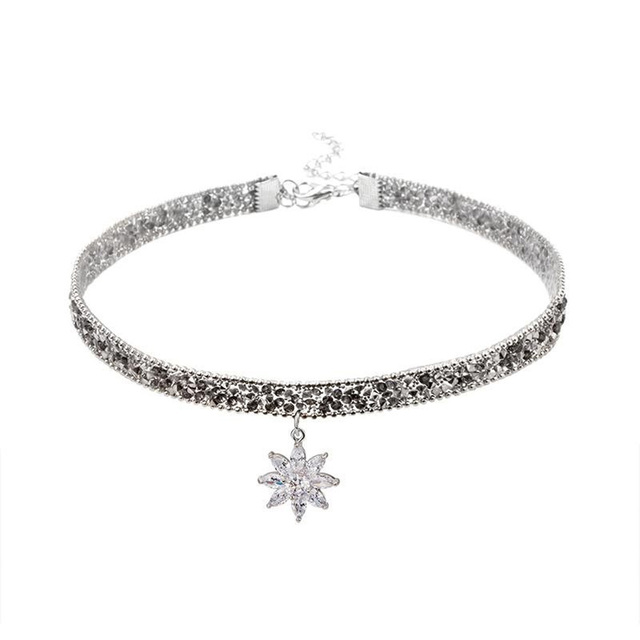 Fashion Crystal Ice Flower Pendant Necklace Glitter Adjustable Metal Chain Women Chic Punk Choker Clavicle Chain Neck Jewelry 6