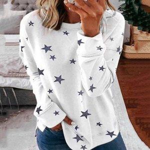Women Star Print Tee Long Sleeve O Neck T-shirt 2020 Autumn Ladies Pullover Sweatshirt Tops Casual Streetwear