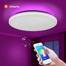 مصباح سقف LED ذكي 36W48W ، تطبيق التحكم عن بعد RGB يعتم سماعات بلوتوث إضاءة منزلية مصباح سقف AC85V 265V