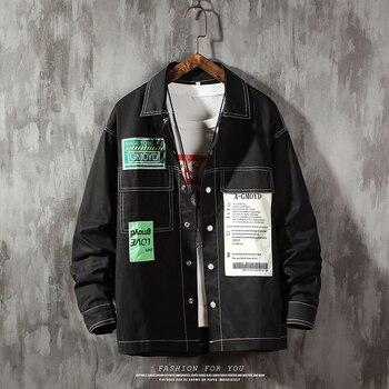 Men Hip Hop patchwork Jacket Retro Color Block Jacket Shirt Streetwear Harajuku Multi Pockets Jackets Reggae