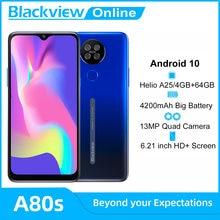 Blackview A80s 4GB+64GB Android 10 Smartphone Octa Core 13MP Rear Camera 4200mAh Face Fingerprint Unlock Phone 4G Cellphone