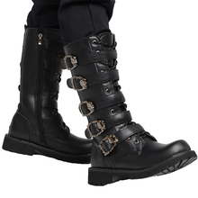 Riding boots Army Boots Men High Military Combat Boots Metal Buckle Punk Mid Calf Male Motorcycle Boots Lace Up Men's Shoes Rock military men boots 2019 punk work boots riding boots cowboy boots metal gothic riding boots male shoes motorcycle knight boots