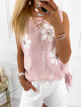2020 Summer Women Fashion Floral Pattern Tied Detail Casual Tank Top floral lace yoke pearl detail top