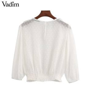 Image 2 - Vadim נשים אלגנטי לבן קצר סגנון חולצה שלושה שרוול רבעון נשי מזדמן חולצה לראות דרך ראפלס חולצות blusas LB744