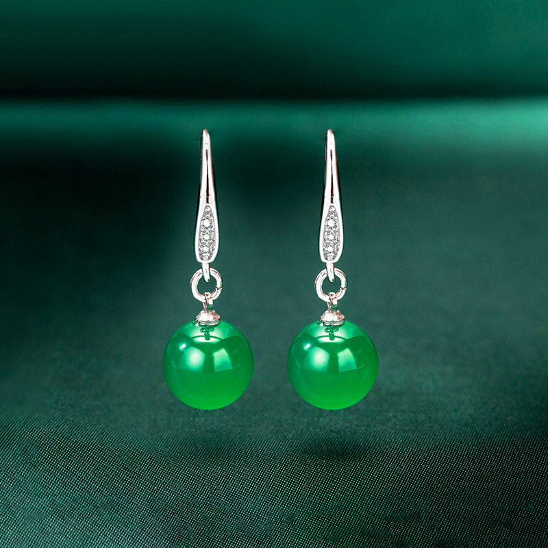 10mm Natural Green Jade Bead Drop Earrings 925 Silver Jadeite Chalcedony Amulet Fashion Charm Jewelry Gifts For Women Her